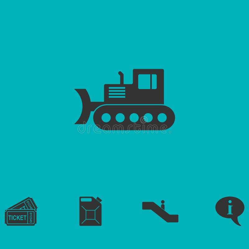 Appartement d'icône de bouteur illustration stock