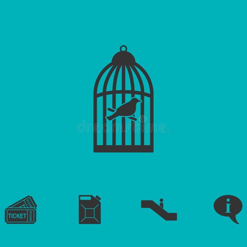Appartement d'icône de cage à oiseaux illustration de vecteur