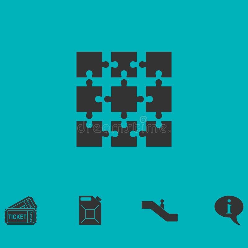 Appartement d'icône de puzzle illustration stock