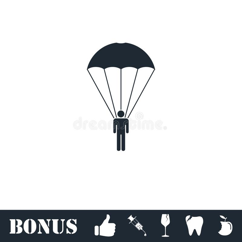Appartement d'ic?ne de parachutiste illustration de vecteur