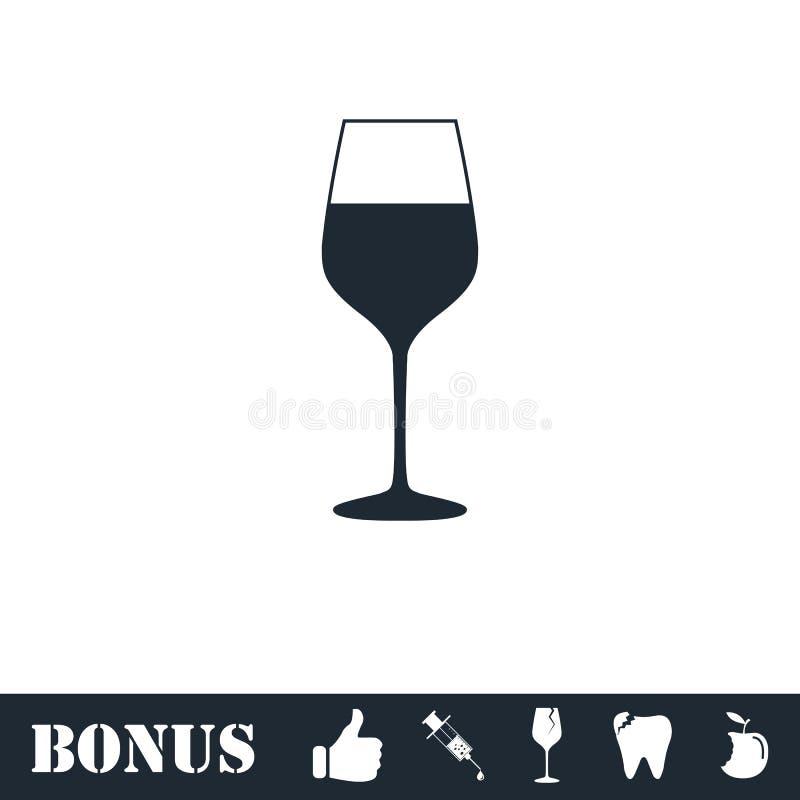 Appartement d'ic?ne de verre ? vin illustration de vecteur