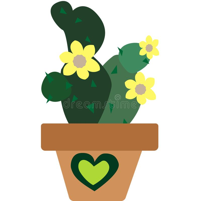Appartement de cactus avec les fleurs jaunes illustration stock