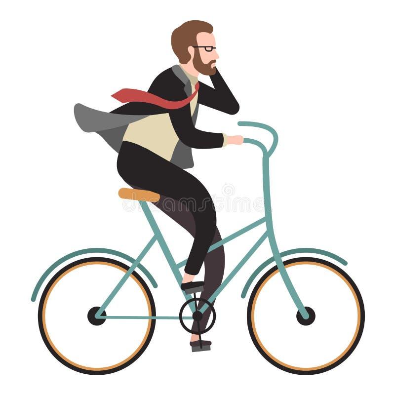 Appartement de cycliste Bicyclette de tour d'homme et téléphone heureux d'appel pour des affaires Illustration de vecteur de band illustration de vecteur