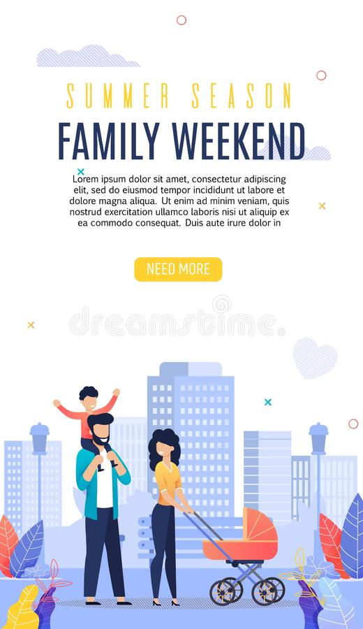 Appartement de lettrage de week-end de Femily d'insecte de publicité illustration stock
