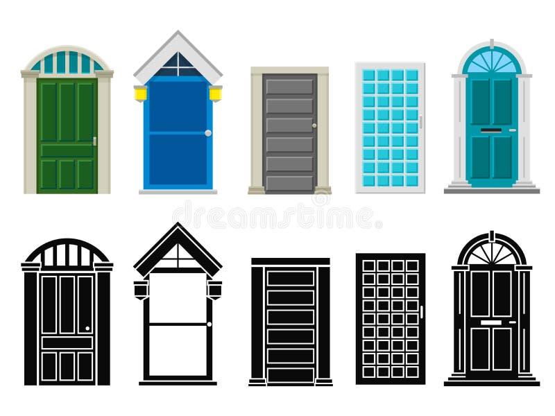 Appartement de portes de maison et ensemble avant de vecteur de silhouette illustration stock