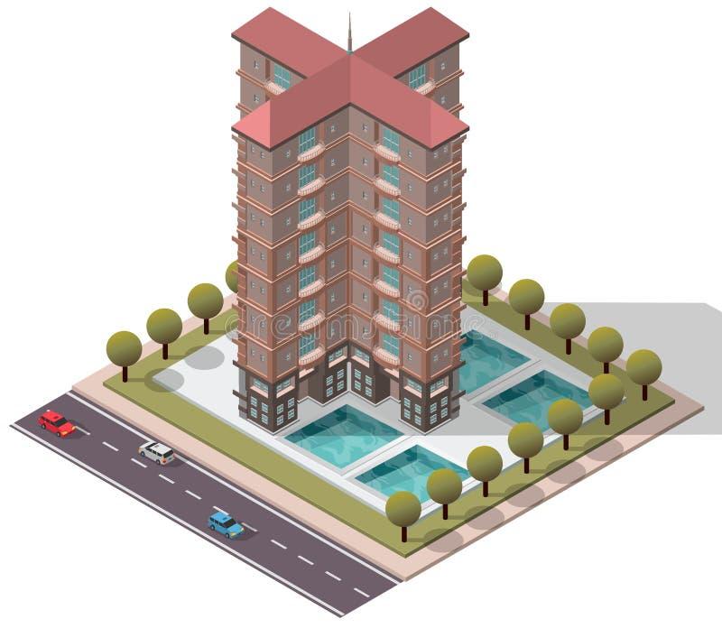 Appartement isométrique d'appartements de vecteur illustration libre de droits