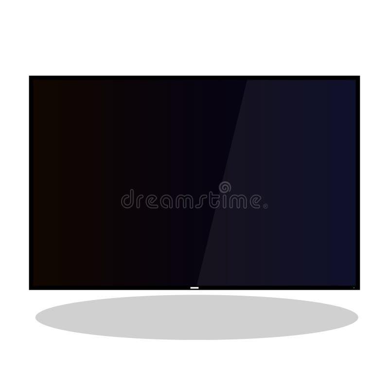 appartement large de vecteur du plasma 4k d'affichage à cristaux liquides de TV illustration stock