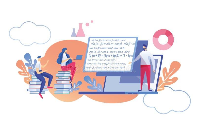 Appartement mathématique de étude en ligne de discipline illustration de vecteur
