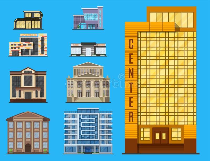 Appartement moderne d'affaires de maison d'architecture de bureau de tour de bâtiments de ville illustration stock