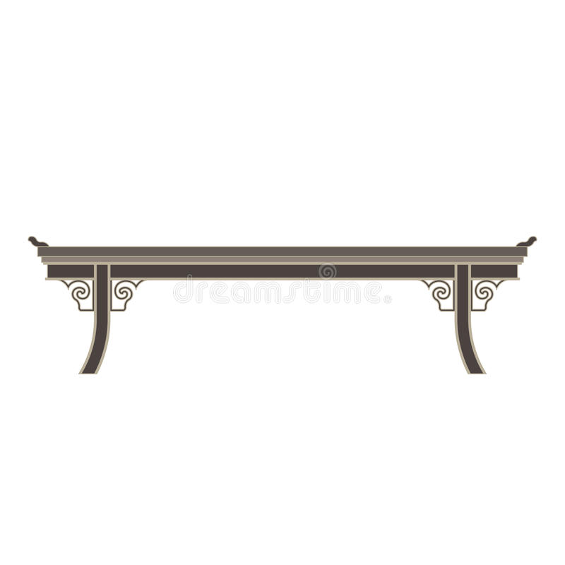 Appartement monochrome chinois de vue de côté de table dans le thème gris de couleur illustration libre de droits