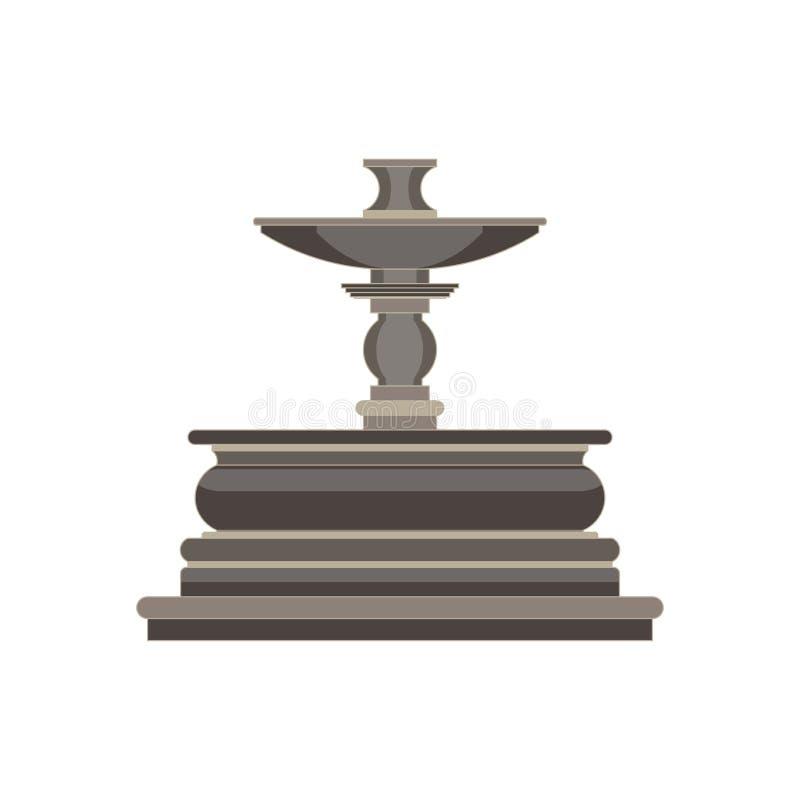 Appartement monochrome de vue de côté de fontaine dans le thème gris de couleur illustration stock