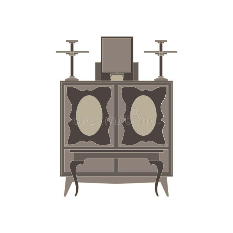 Appartement monochrome de vue de face d'autel dans le thème gris de couleur illustration stock
