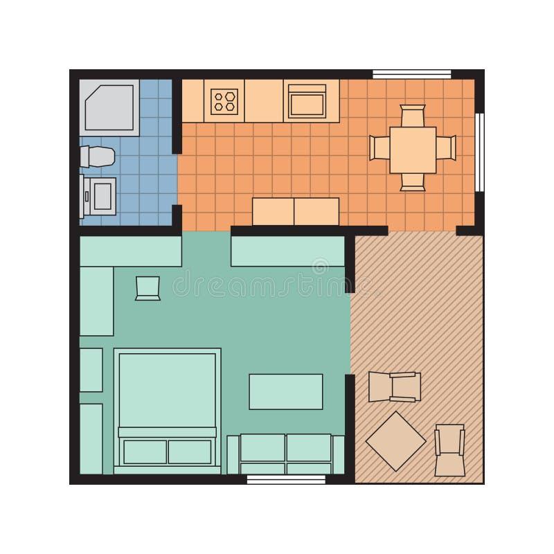 Appartement plat de projection de vecteur Plan de petite maison avec le furnitur illustration de vecteur