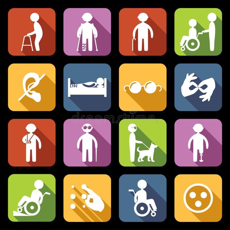 Appartement réglé par icônes handicapées illustration libre de droits