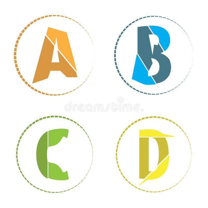 Appartement simple abstrait une icône de logo d'alphabet de b c d illustration libre de droits