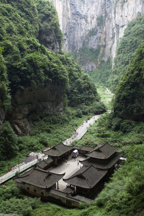Appartement terrasse de Tienfu dans des trois ponts naturels images libres de droits