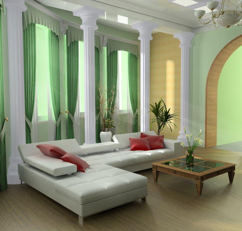 Appartement terrasse vert illustration de vecteur