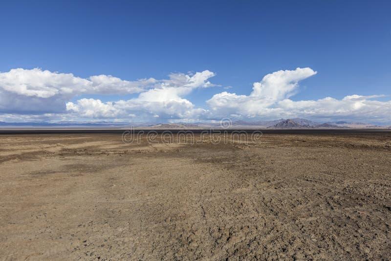 Appartements de boue d'assèche soda dans le désert de Mojave images stock