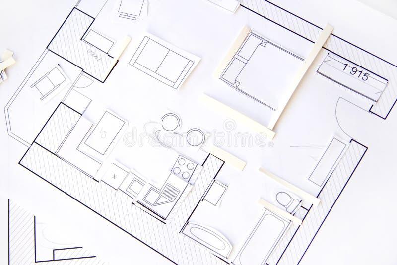 Appartements de conception intérieure - première vue. Modèle de papier images libres de droits