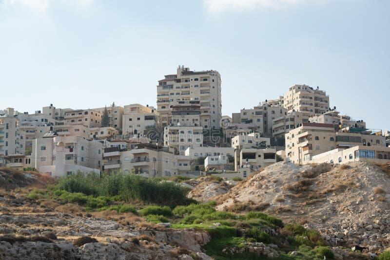 Appartements de Jérusalem tirés de dessous le niveau de route image libre de droits