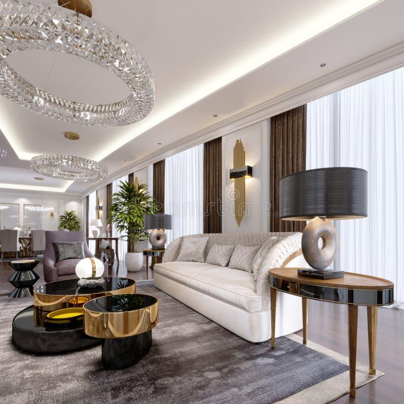 Appartements de luxe dans l'hôtel avec un salon et une salle à manger, sofa, lit, support de TV, table de salle à manger, intérie illustration stock