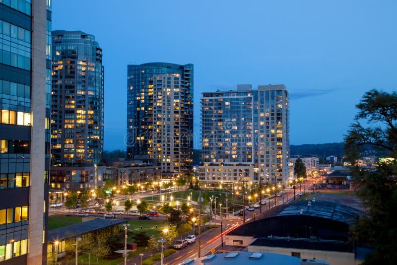 Appartements de Portland au crépuscule photographie stock