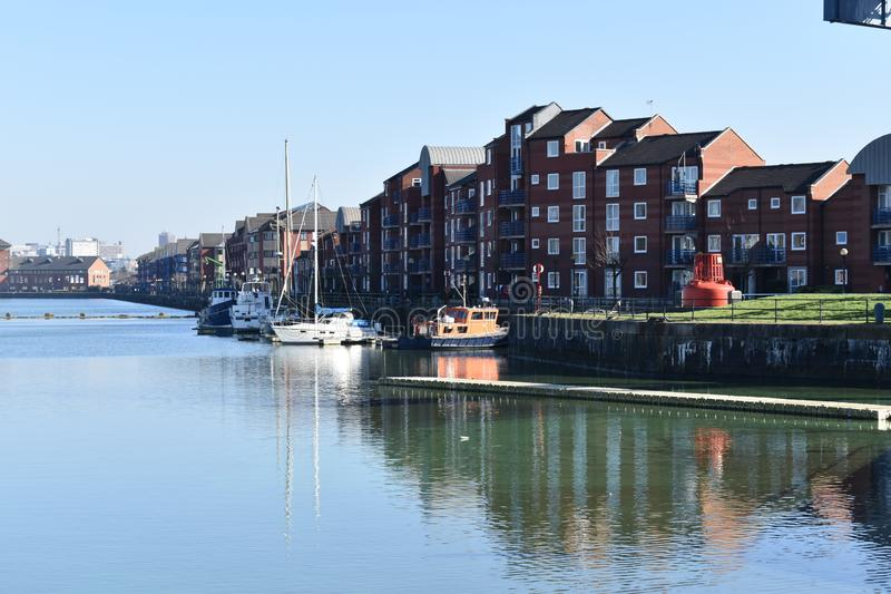 Appartements de princes Reach - quartiers des docks de Preston Riversway images libres de droits