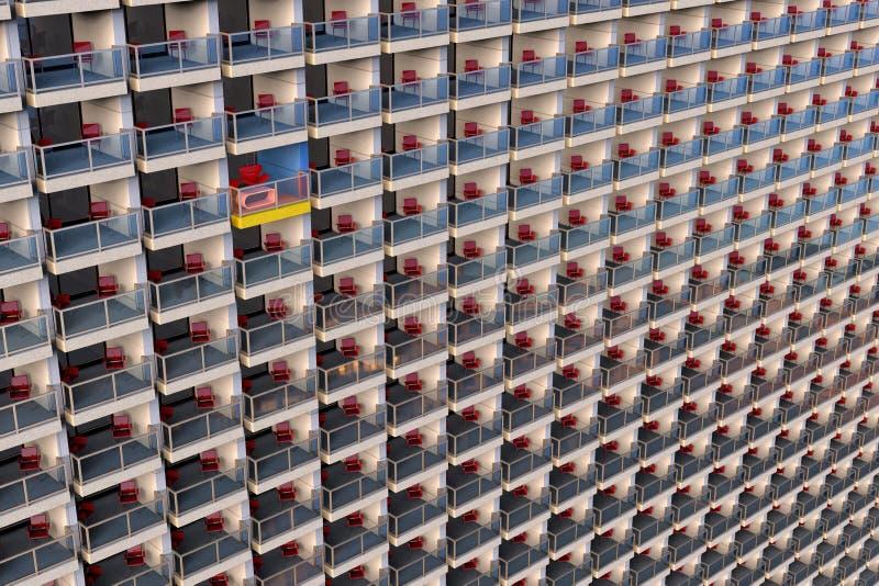 Appartements de regard en uniforme dans un immeuble énorme et surchargé avec un différent adapté aux besoins du client illustration stock