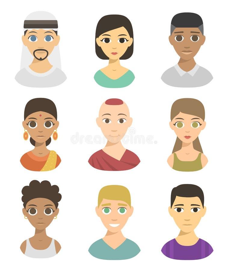 Appartenance ethnique différente de portraits de personnes de nations d'avatars frais illustration libre de droits