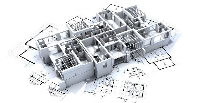 appartmen ritningmodellen vektor illustrationer