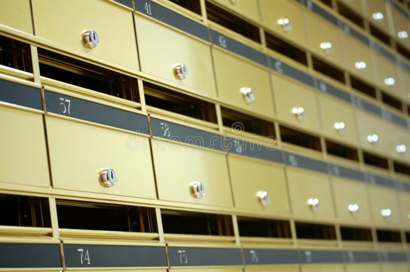 Appartment letter boxes. A wall of Letter boxes for an appartment royalty free stock image