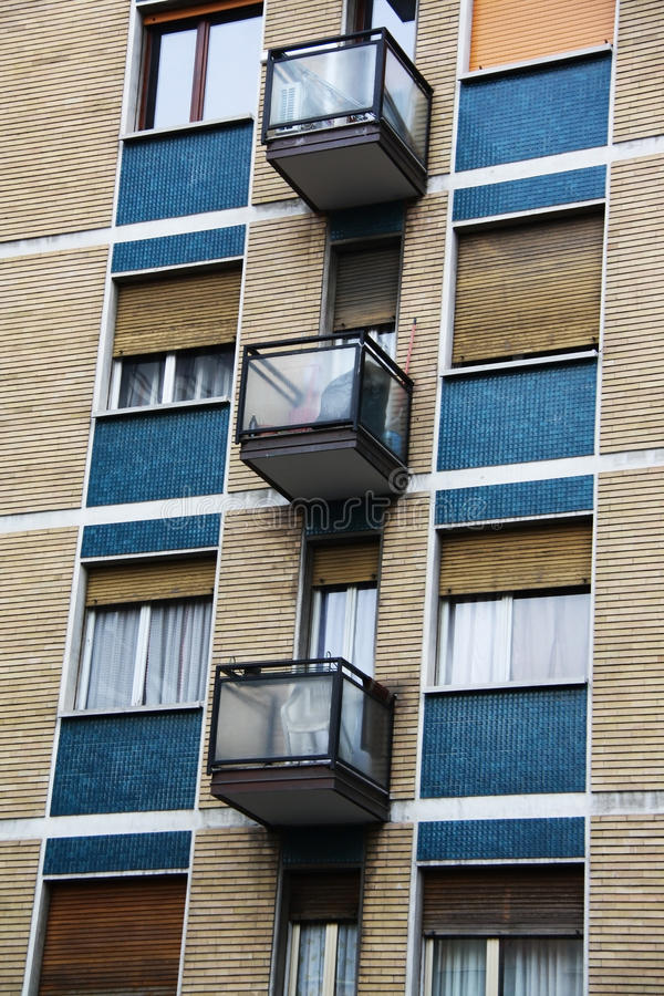 Appartment. Modern appartment building with small balconies royalty free stock photos