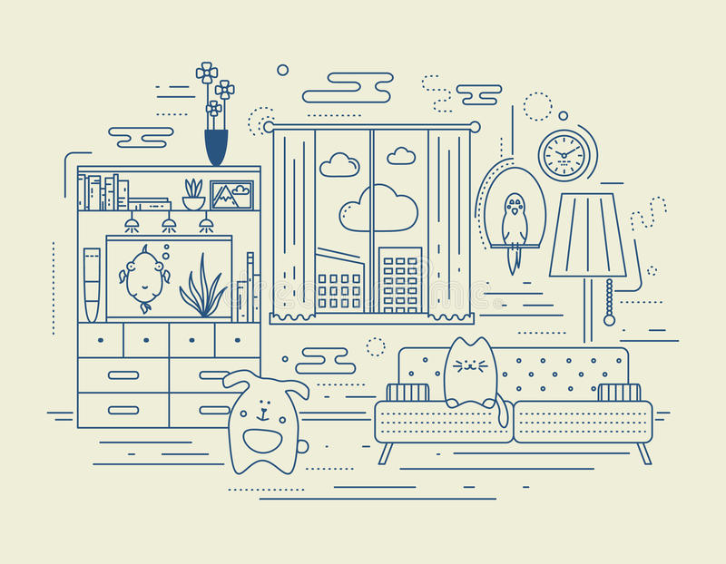 Appartment with pets vector illustration