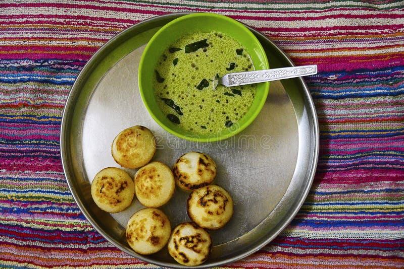 APPE, squisitezza indiana del sud con salsa piccante fotografia stock libera da diritti