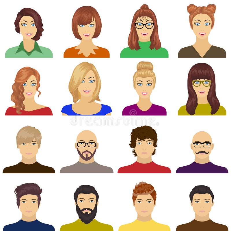 Appearance of the girl in glasses, a guy with a hairdo, a bald man with a beard and other varieties of face. Faces and vector illustration