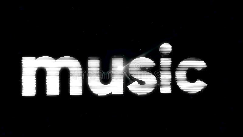Appearance of word music made of abstract waves or lines on black background. Word Music consists of a set of abstract royalty free illustration