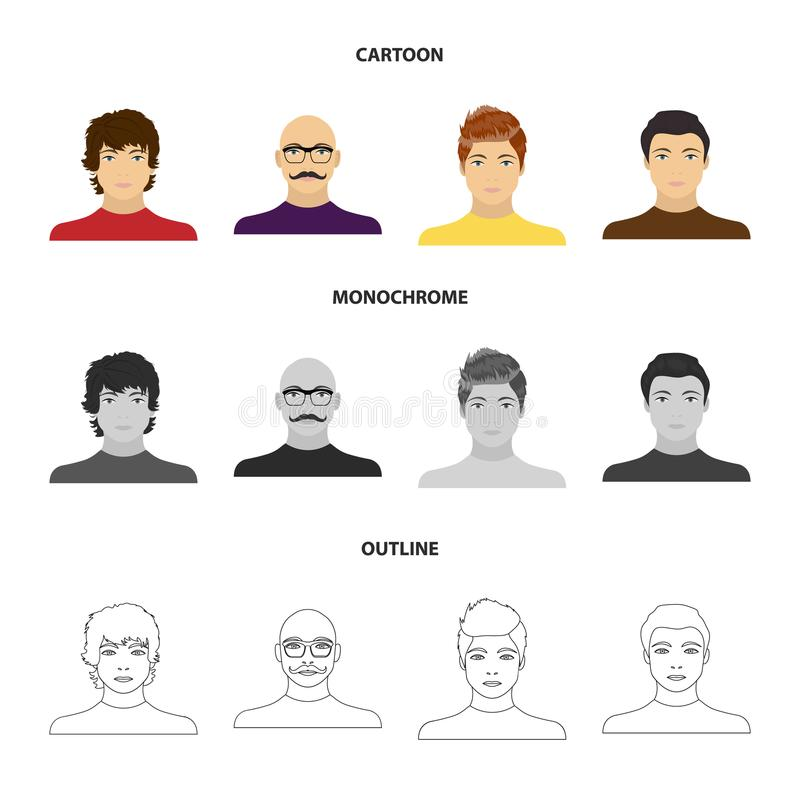 The appearance of the young guy, the face of a bald man with a mustache in his glasses. Face and appearance set royalty free illustration