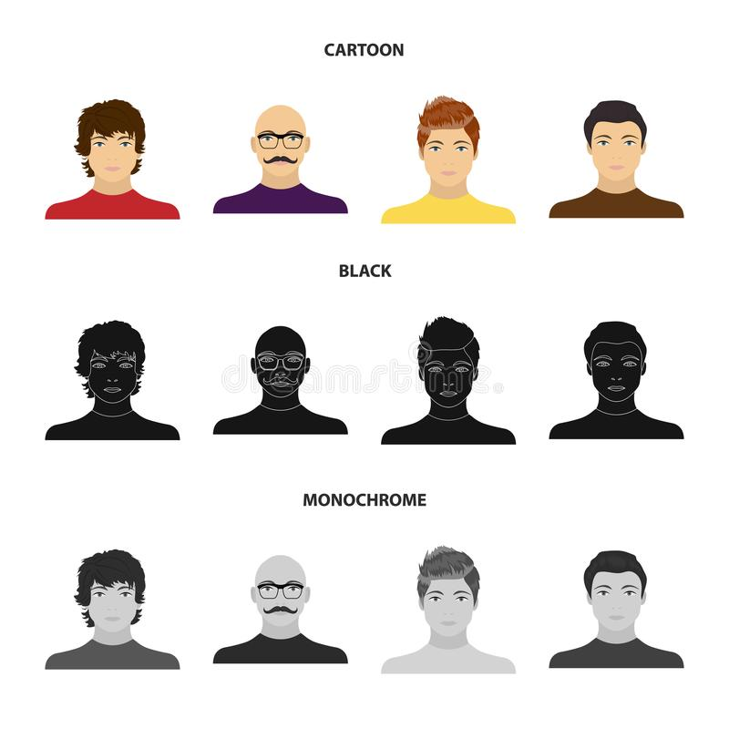The appearance of the young guy, the face of a bald man with a mustache in his glasses. Face and appearance set vector illustration