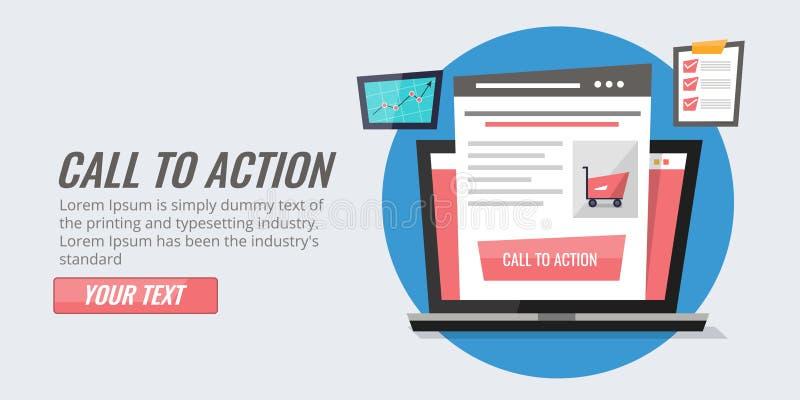 Appel à l'optimisation de bouton d'action pour le portail de commerce électronique Améliorez la stratégie de taux de clic illustration de vecteur