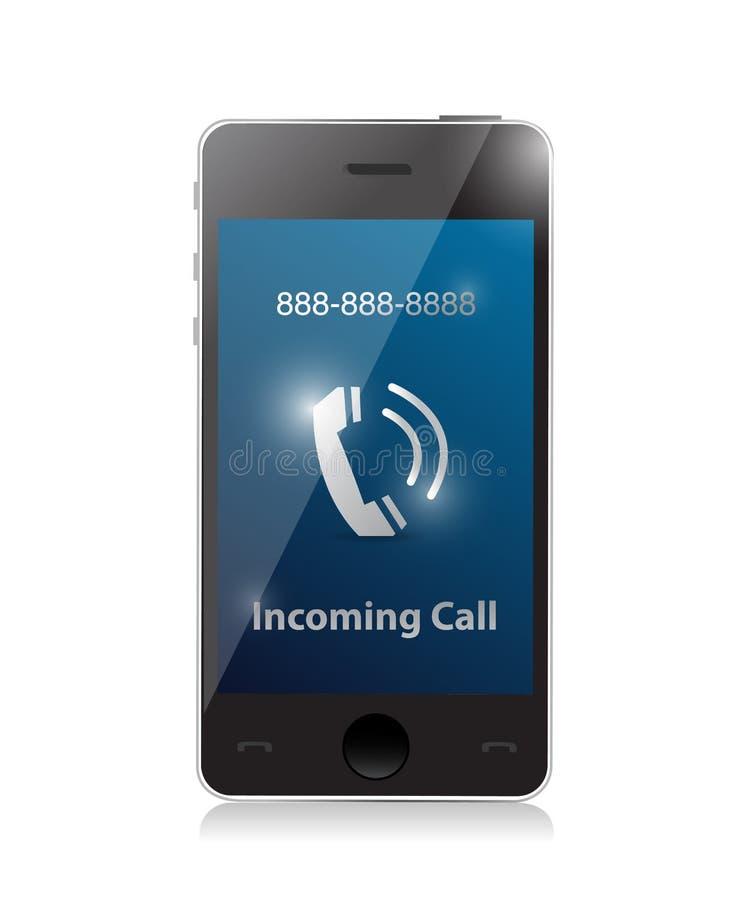 Appel d'arrivée. téléphone intelligent moderne illustration libre de droits