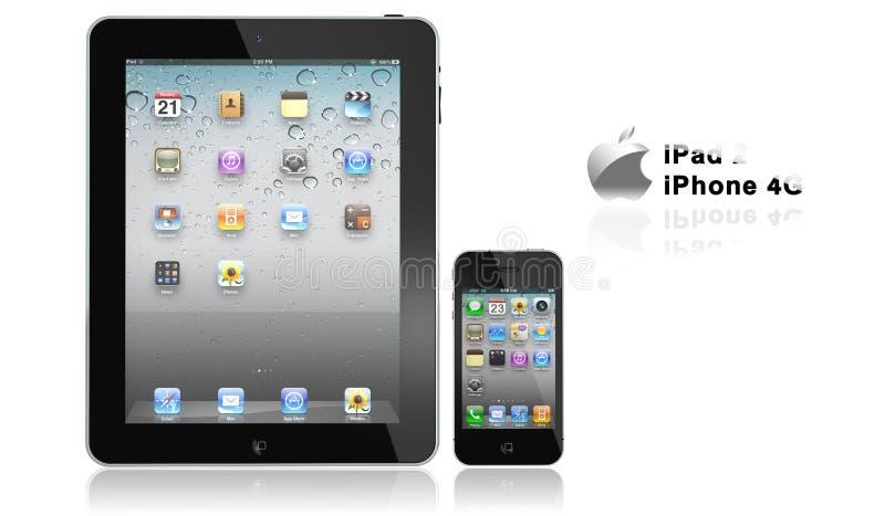 Appel iPad 2 en iphone 4G royalty-vrije illustratie