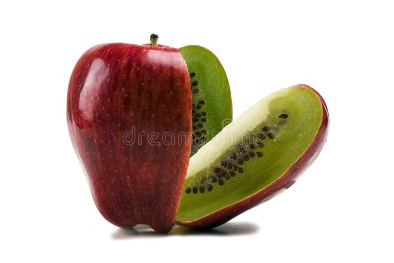 Appel met binnen kiwi royalty-vrije stock afbeeldingen