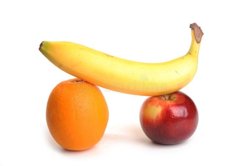 Appel, Sinaasappel en Bannana stock foto's