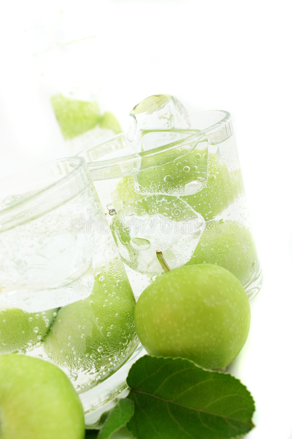Appel in Soda royalty-vrije stock foto