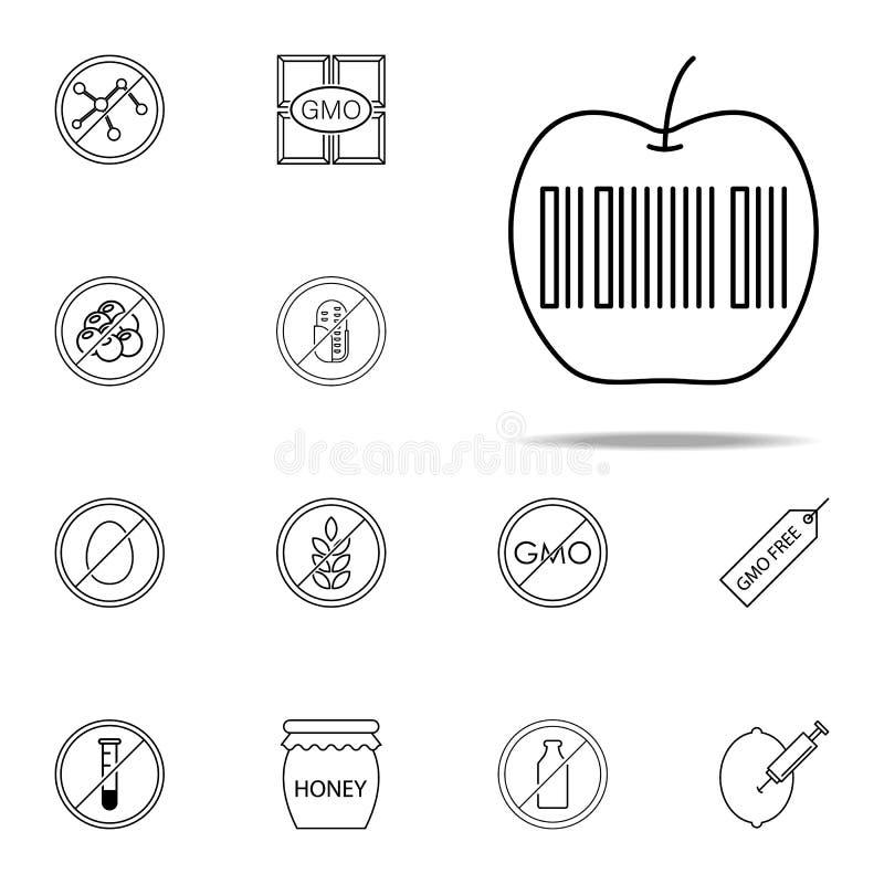 appel, streepjescodepictogram GMO-voor Web wordt geplaatst dat en mobiel pictogrammenalgemeen begrip royalty-vrije illustratie