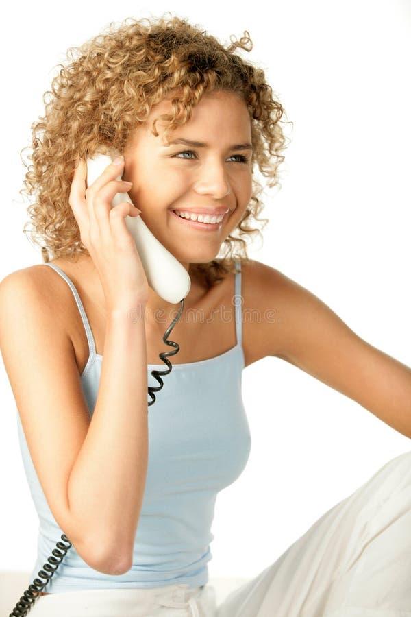 Appel téléphonique de femme photographie stock