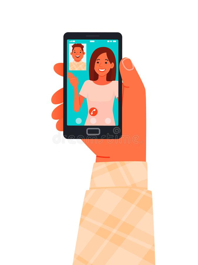Appel vidéo sur un smarphone Les amis communiquent en ligne par téléphone Personnes et gadgets photo stock