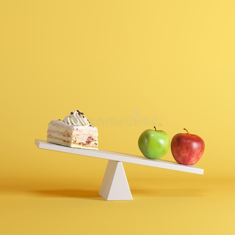 Appelen die geschommel met cake op tegenovergesteld eind op pastelkleurachtergrond tippen vector illustratie