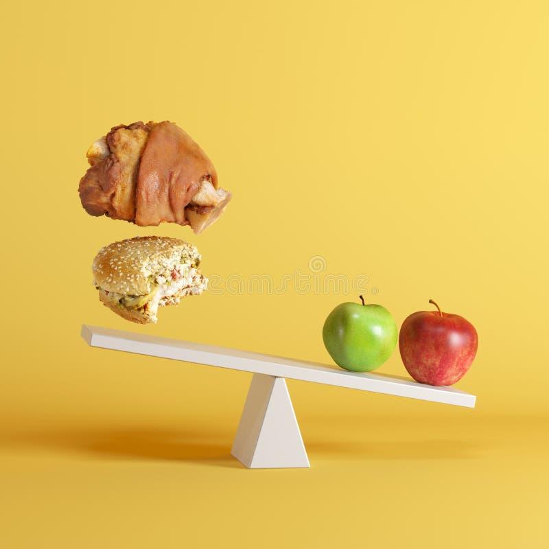 Appelen die geschommel met drijvend hamburger en varkensvleesbeen op tegenovergesteld eind op gele achtergrond tippen stock illustratie