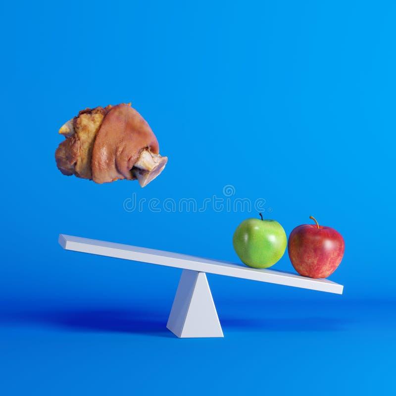 Appelen die op geschommel met drijvend varkensvleesbeen zitten op tegenovergesteld eind op blauwe achtergrond stock illustratie